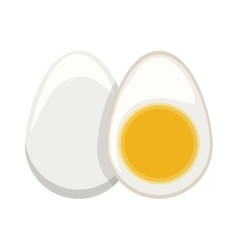 silhouette color boiled egg and half boiled egg vector image vector image