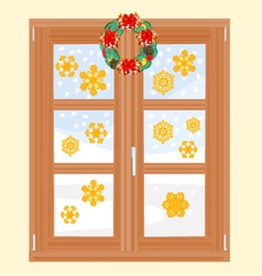 Winter window with christmas wreath vector