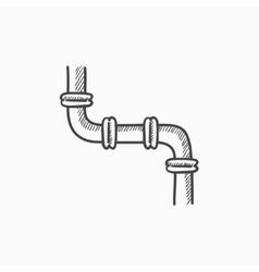 Water pipeline sketch icon vector