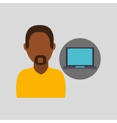 Man with pc icon vector