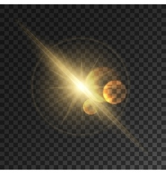 Glowing light flash sparkling golden sun rays vector
