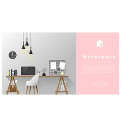 Interior design modern workspace background 2 vector