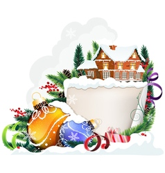 Brick house and christmas ornaments vector