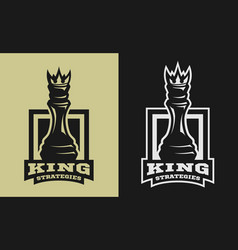 King strategies chess figure emblem logo vector