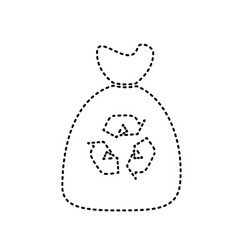 trash bag icon black dashed icon on white vector image
