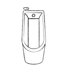 Sketch silhouette of bathtub in top view vector
