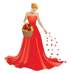 Girl and basket of roses vector