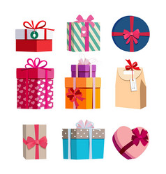Different color gift boxes with ribbons vector