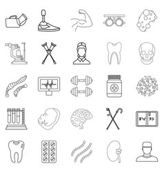 Cure icons set outline style vector
