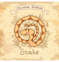 Vintage card with chinese zodiac - snake vector