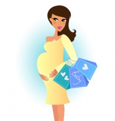 Shopping pregnant woman vector