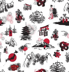 seamless pattern Japanese New Year vector image