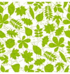 Seamless pattern from spring leaves vector