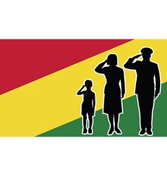 Bolivia soldier family salute vector