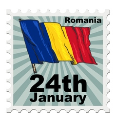 Post stamp of national day of romania vector