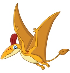 Cartoon happy pterodactyl cartoon vector