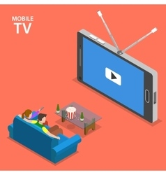 Mobile TV isometric flat vector image