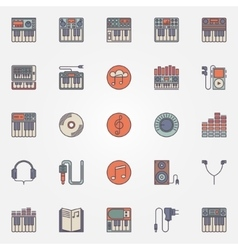 Colorful synthesizer icons vector