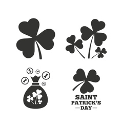Saint patrick day icons money bag with coins vector