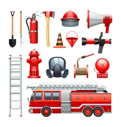 Firefighter equipment and machinery icons set vector
