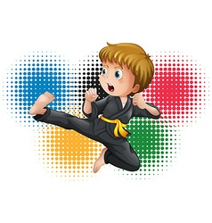Boy in black karate uniform vector