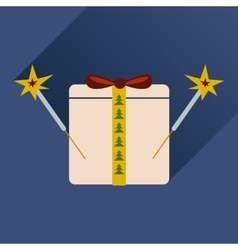 flat icon with long shadow present and sparklers vector image