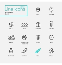 Allergens - simple thin line design icons vector