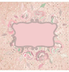 Vintage with pink rose on paper polka dot EPS 8 vector image