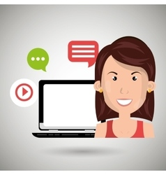 Social networking user laptop isolated icon design vector
