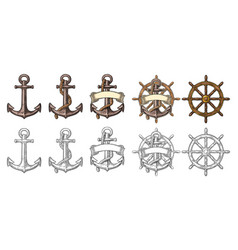 anchor and wheel with ribbon isolated on beige vector image vector image