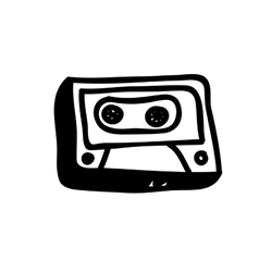 Audio cassette doodle icon image vector