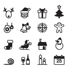 basic christmas icons set vector image vector image