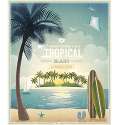 beach and palm vintage vector image vector image
