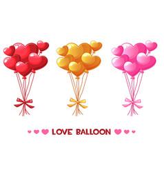 cartoon colored heart balloons set happy vector image