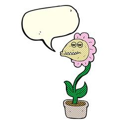 Cartoon monster flower with speech bubble vector