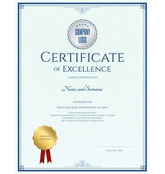 Certificate of excellence template with gold seal vector image vector image