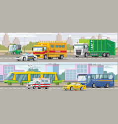 City transport horizontal banners vector