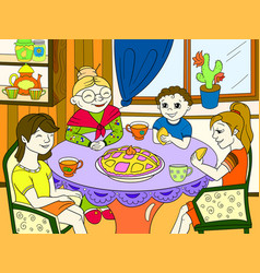 color grandmother is sitting at the table vector image vector image