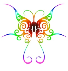 Colorful tribal butterfly tattoo vector image
