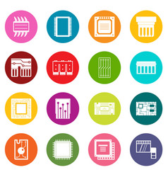 computer chips icons many colors set vector image vector image