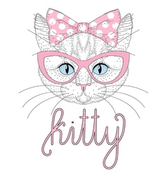 Cute kitty portrait with pin up bow tie on head vector