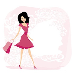 Cute sexy girl with shopping bag vector image vector image