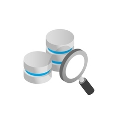 Database and magnifying glass icon vector