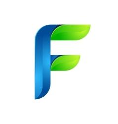 F letter leaves eco logo volume icon vector