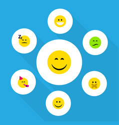 Flat icon expression set of frown smile grin and vector