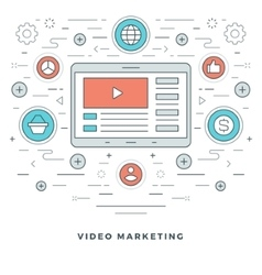 Flat line e-learning or video marketing vector