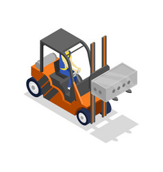 Forklift loading cinder block isometric 3d icon vector