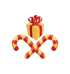 Gift and Christmas Lollipop Logo for Christmas vector image