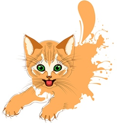 Ginger cat grunge vector image