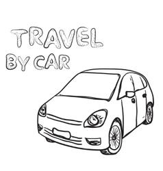 Hand drawn transport set car vector